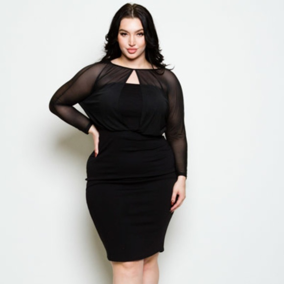 Plus Size Keyhole Mesh 3/4 Sleeve Bodycon Dress Boutique